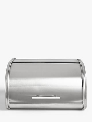 House by John Lewis Roll Top Stainless Steel Bread Bin, Silver