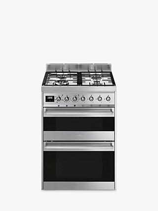 Smeg SY62MX9 Double Dual Fuel Cooker, 60cm Wide, A Energy Rating, Stainless Steel