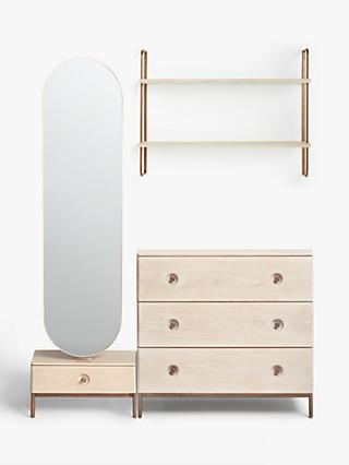 Design Project by John Lewis No.185 Mirror, Wide Shelves and 3 Drawer Chest, Natural/Oak