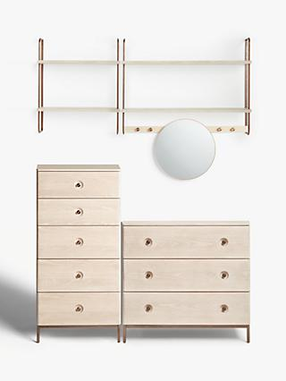 Design Project by John Lewis No.185 Narrow Shelves, Mirror and Wide Shelving Unit, 5 Drawer and 3 Drawer Chest Set, Natural/Oak