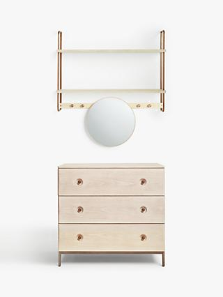 Design Project by John Lewis No.185 Wide Shelving Unit and Mirror and 3 Drawer Chest Set, Natural/Oak