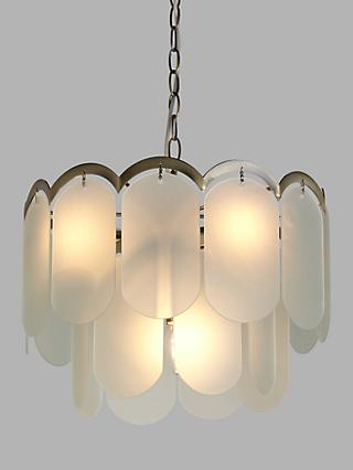 John Lewis & Partners Antique Brass and Vintage Glass Ceiling Light, 4 Light