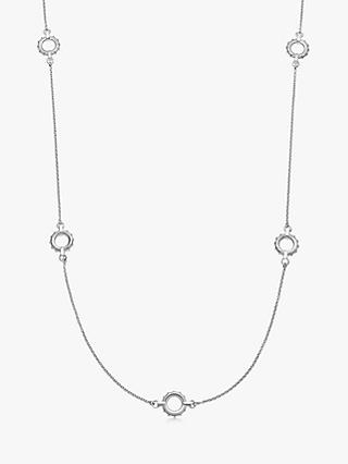 Links of London Textured Circle Long Chain Necklace, Silver