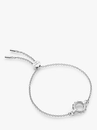 Links of London Textured Circle Sliding Clasp Bracelet, Silver
