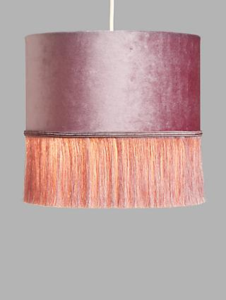 John Lewis & Partners Tassel Easy-to-Fit Velvet Ceiling Shade, Pink