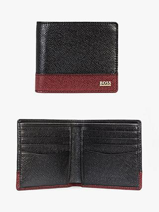 BOSS Signature Leather Eight Card Wallet, Black/Red