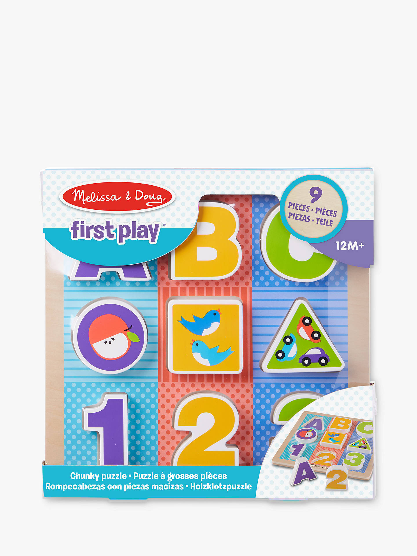 Melissa Doug First Play Wooden Abc 123 Chunky Puzzle