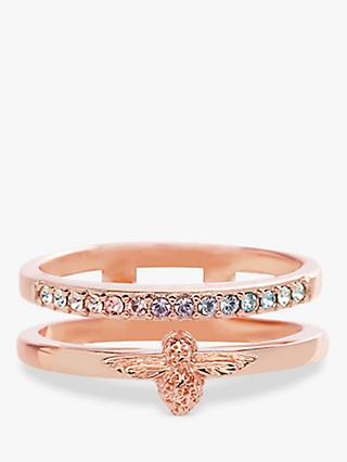 Olivia Burton Crystal and Bee Ring, Rose Gold OBJAMR26A