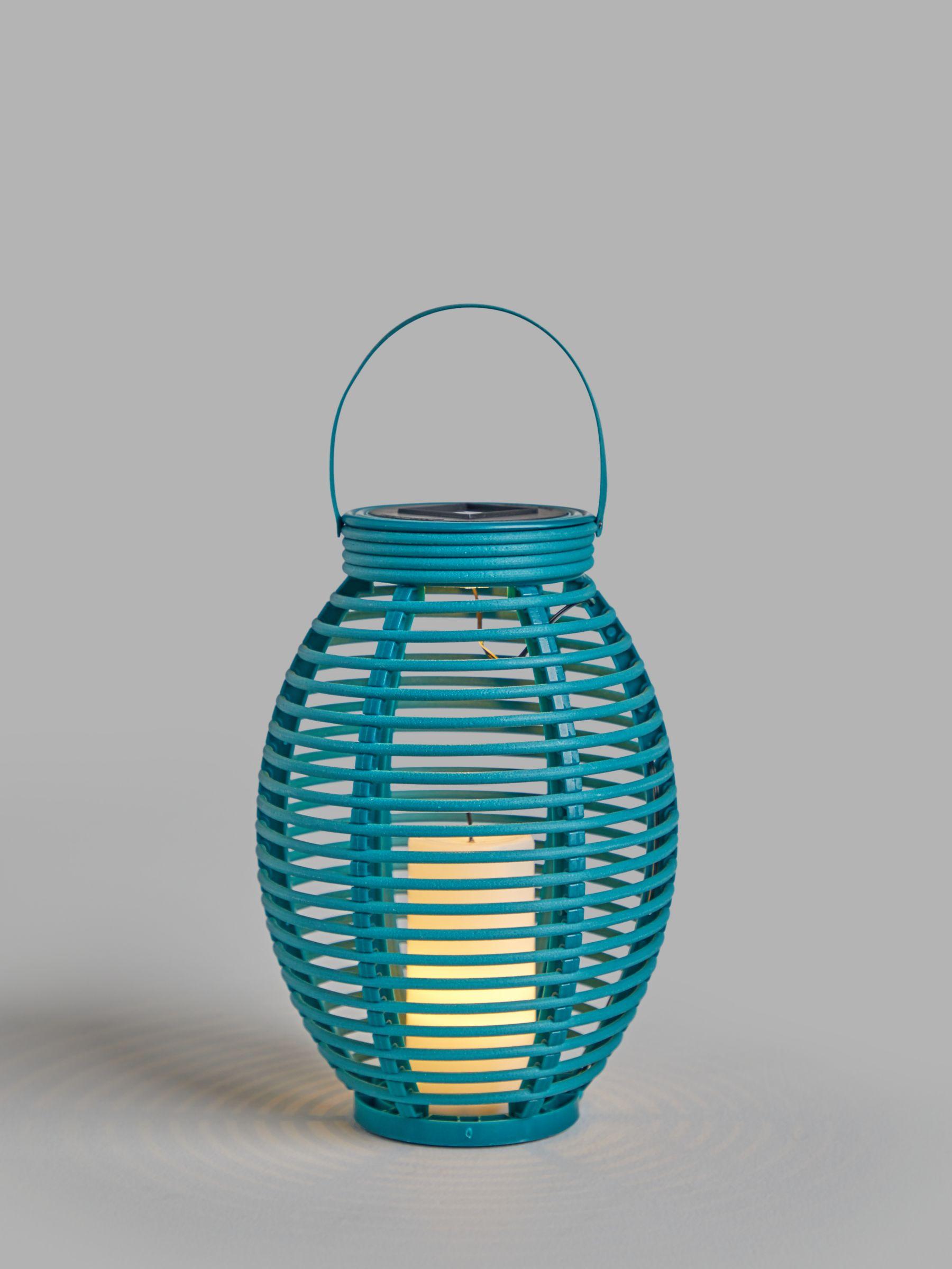 John Lewis & Partners Salsa Rattan Solar Powered Garden Lantern, Small, Teal