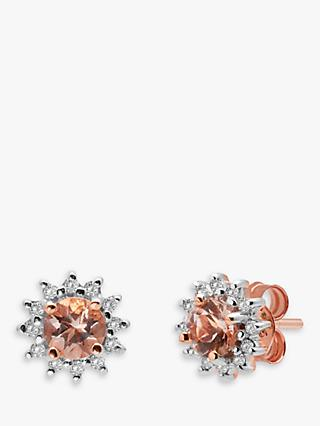 A B Davis 9ct Rose Gold Morganite and Diamond Round Stud Earrings, Pink