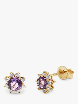 A B Davis 9ct Gold Semi-Precious Stone and Diamond Round Stud Earrings