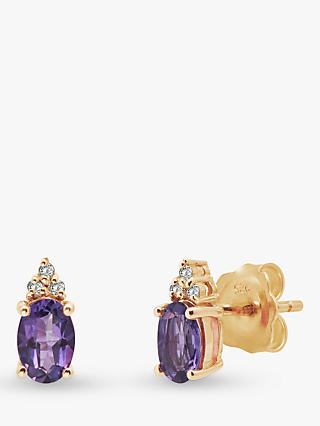 A B Davis 9ct Gold Amethyst and Diamond Oval Stud Earrings, Gold/Purple