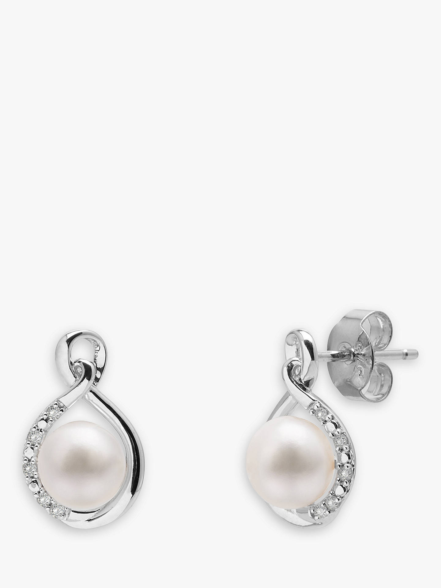 Buy A B Davis 9ct White Gold Freshwater Pearl and Diamond Stud Earrings, White Online at johnlewis.com