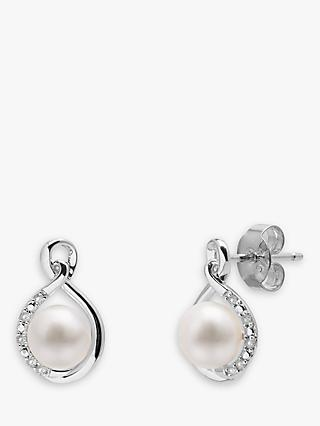 A B Davis 9ct White Gold Freshwater Pearl and Diamond Stud Earrings, White