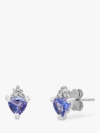 A B Davis 9ct White Gold Tanzanite and Diamond Triangular Stud Earrings