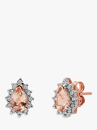 A B Davis 9ct Rose Gold Morganite and Diamond Teardrop Stud Earrings, Pink