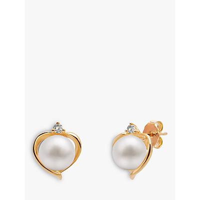 A B Davis 9ct Gold Freshwater Pearl and Topaz Heart Stud Earrings, White