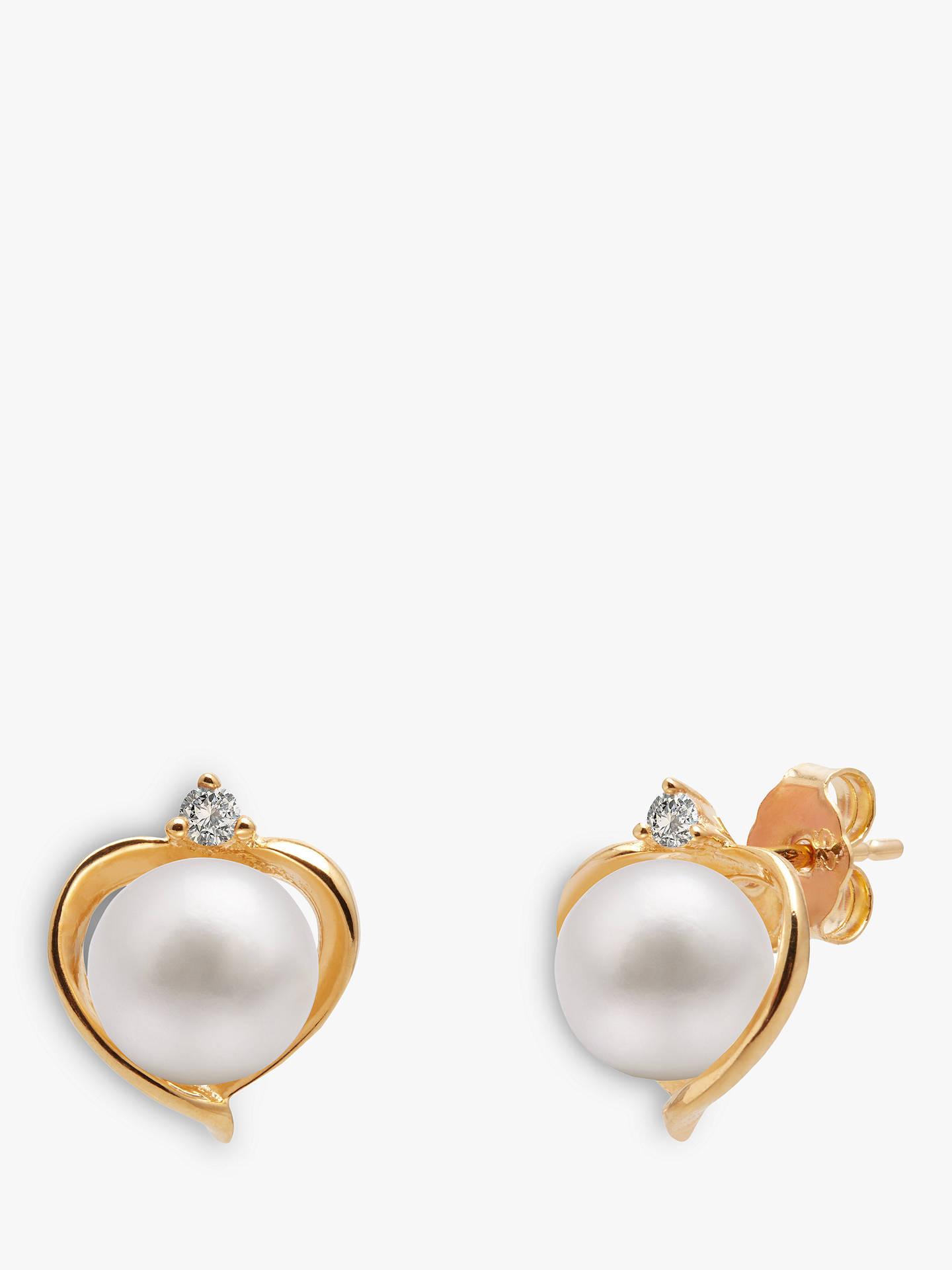 Buy A B Davis 9ct Gold Freshwater Pearl and Topaz Heart Stud Earrings, White Online at johnlewis.com