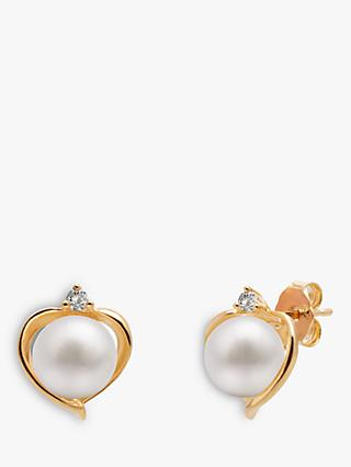 A B Davis 9ct Gold Freshwater Pearl and Topaz Heart Stud Earrings, White