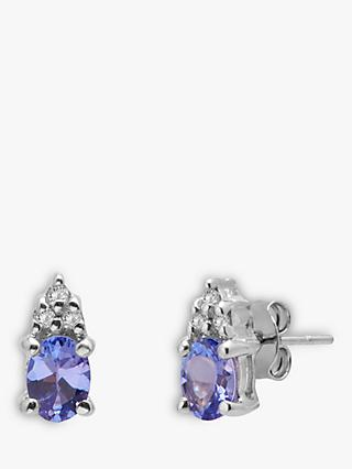 A B Davis 9ct White Gold Tanzanite and Diamond Stud Earrings, Blue