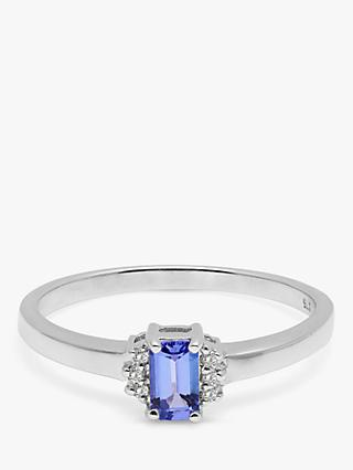 A B Davis 9ct White Gold Baguette Tanzanite and Diamond Engagement Ring