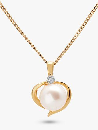 A B Davis 9ct Gold Freshwater Pearl and Topaz Heart Pendant Necklace, Gold