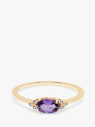 A B Davis 9ct Gold Amethyst and Diamond Engagement Ring