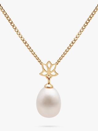 A B Davis 9ct Yellow Gold Freshwater Pearl Pendant Necklace, White