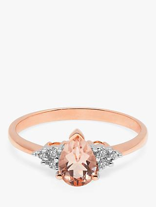 A B Davis 9ct Rose Gold Morganite and Diamond Engagement Ring