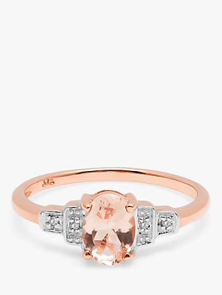 A B Davis 9ct Rose Gold Oval Morganite and Diamond Cluster Engagement Ring