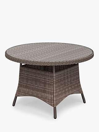 John Lewis & Partners Rye 4-Seat Round Garden Dining Table, Natural