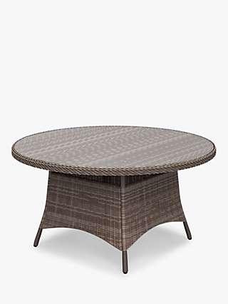 John Lewis & Partners Rye 6-Seat Round Garden Dining Table, Natural