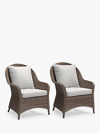 John Lewis & Partners Rye Garden Lounging Armchairs, Set of 2, Natural