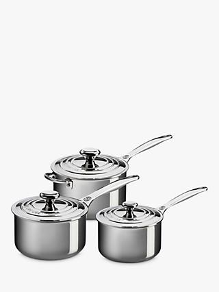 Le Creuset Signature 3-Ply Stainless Steel Saucepan & Lid Set, 3 Piece