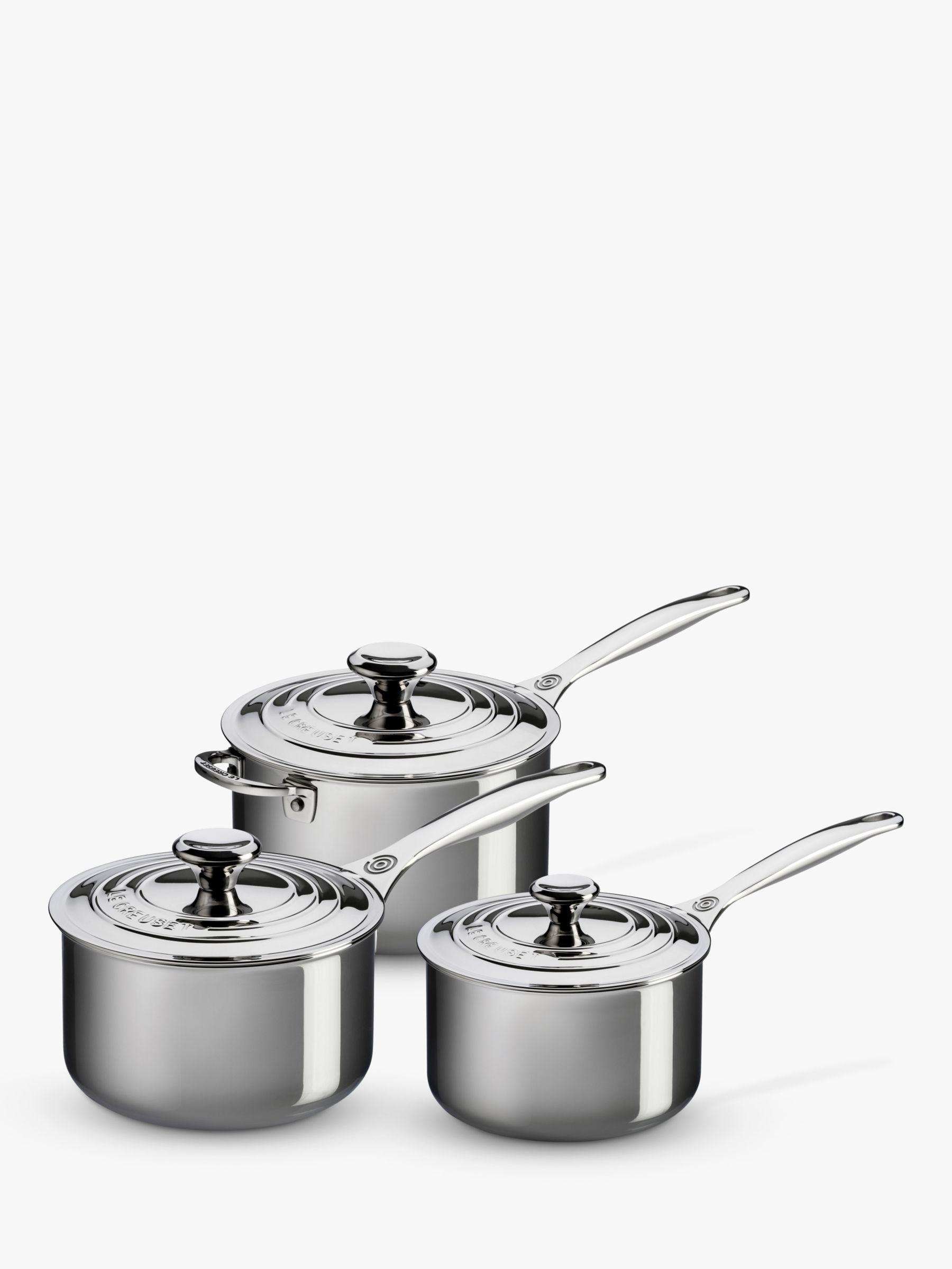 Le Creuset Le Creuset Signature 3-Ply Stainless Steel Saucepan & Lid Set, 3 Piece