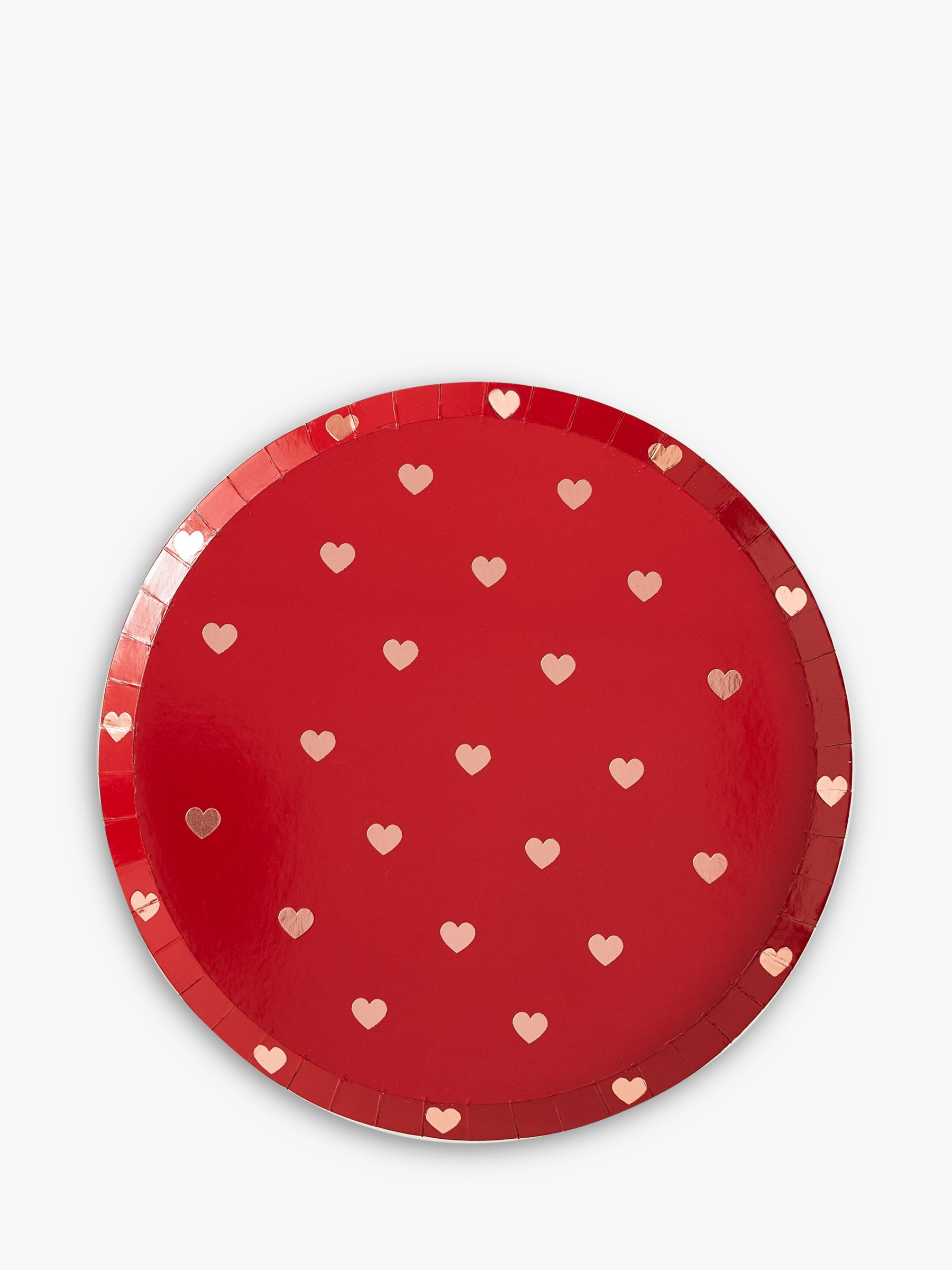 Ginger Ray Ginger Ray Heart Cutout Disposable Plates, Pack of 8