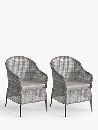 John Lewis & Partners Hoxton Garden Dining Armchairs, Set of 2, Grey
