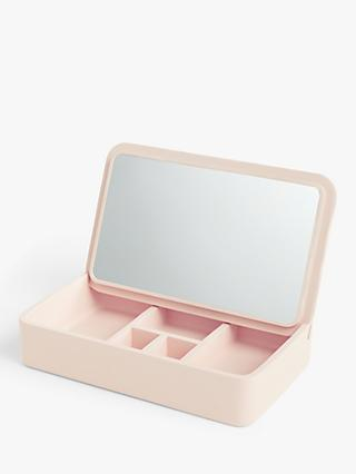 John Lewis & Partners Rectangular Foldaway Jewellery Box with Mirror