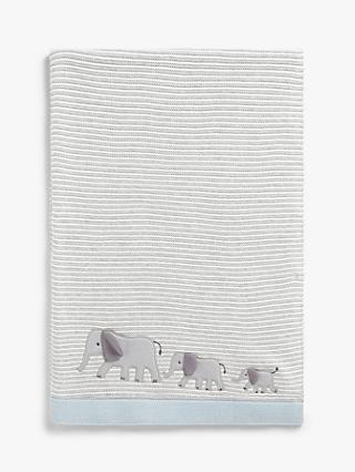 John Lewis & Partners Savanna Elephant Applique Pram Blanket, 100 x 75cm, Grey