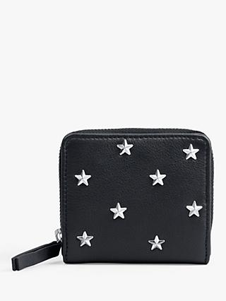 hush Messina Star Detail Small Leather Purse, Black/Silver