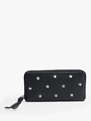 hush Ravenna Star Detail Zip Leather Purse, Black/Silver