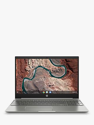 "HP 15-de0000na Chromebook Laptop, Intel Pentium Gold Processor, 4G RAM, 64GB eMMC, 15.6"", Silver White"