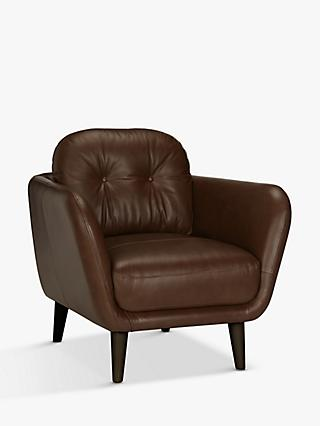 House by John Lewis Arlo Leather Armchair, Dark Leg, Milan Grey