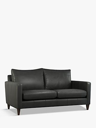 John Lewis & Partners Bailey Medium 2 Seater Leather Sofa, Light Leg, Milan Grey