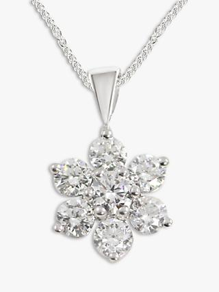 E.W Adams 18ct White Gold Diamond Flower Pendant Necklace