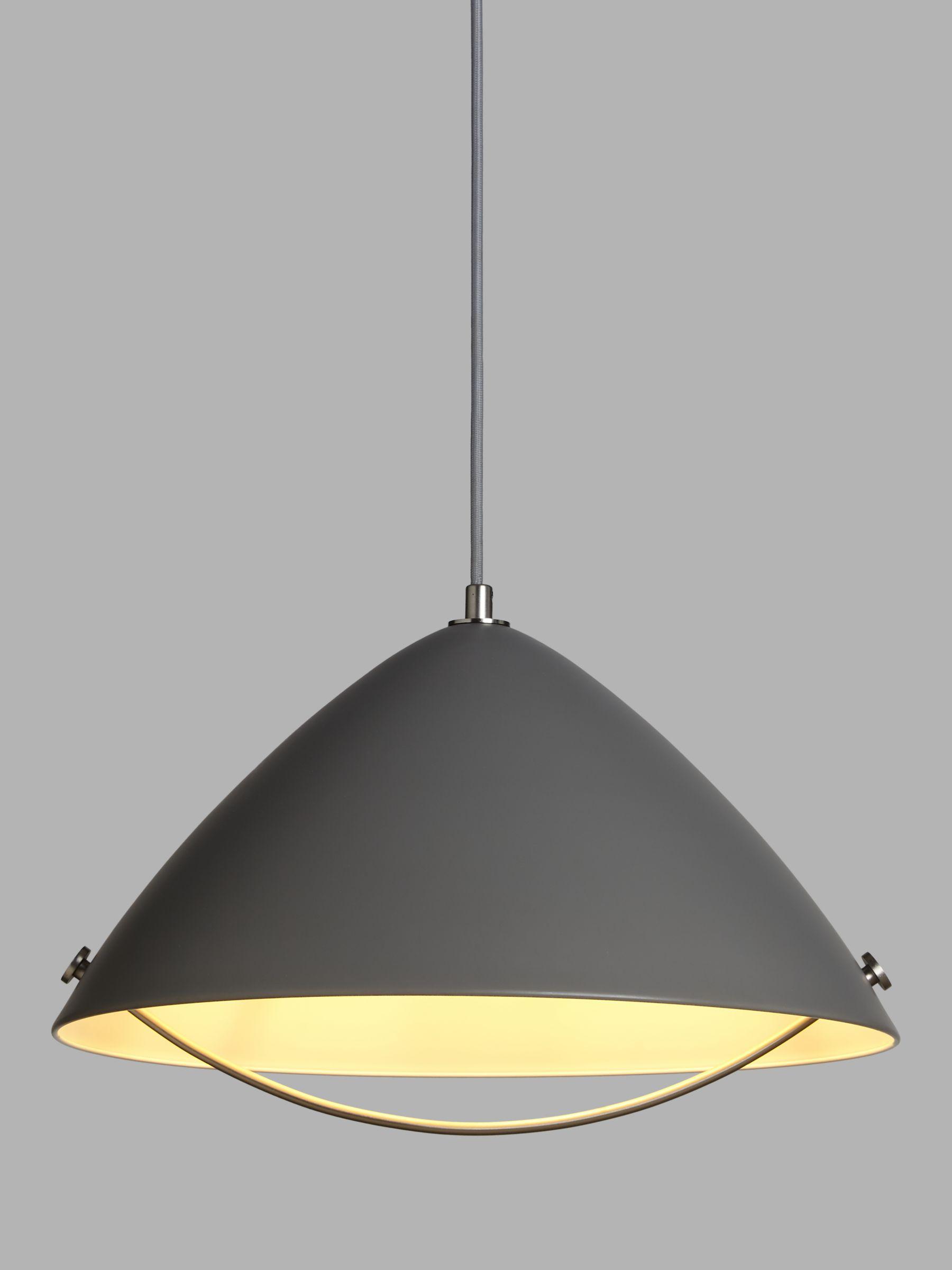 John Lewis & Partners Cupola Rise & Fall Pendant Ceiling Light, Grey