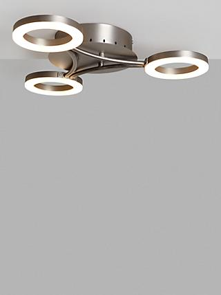 John Lewis & Partners Boyd LED Semi Flush 3 Arm Ceiling Light, Matt Nickel
