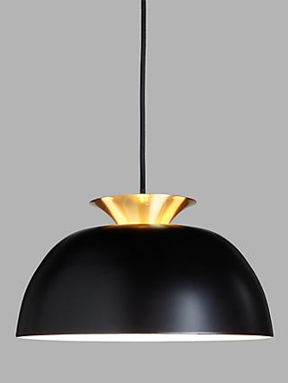 John Lewis & Partners Titus Easy-to-Fit Ceiling Shade, Black/Brass
