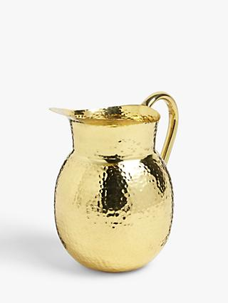 John Lewis & Partners Kainoosh Hammered Stainless Steel Jug, 2.5L, Gold