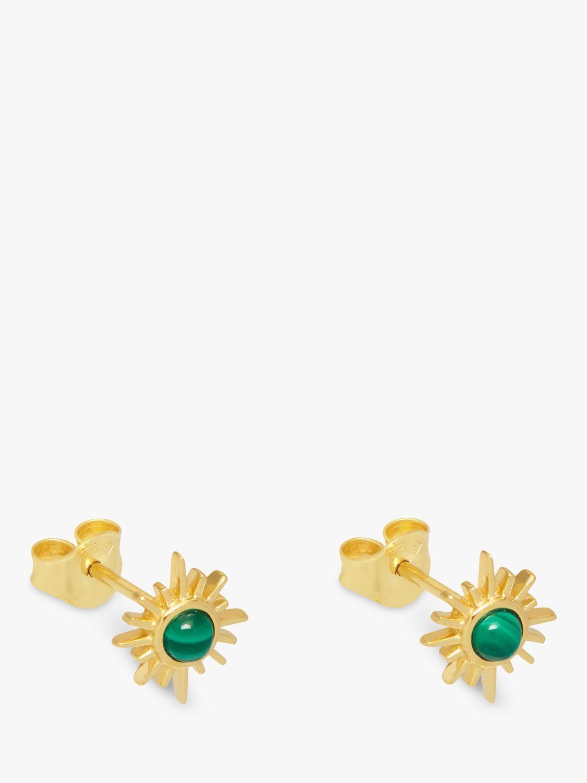 Lola Rose Lola Rose Celestial Sunburst Malachite Stud Earrings, Gold/Green